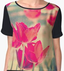 Red Tulips Diptych Chiffon Top
