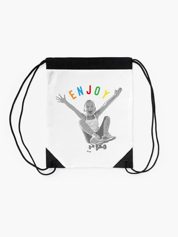 Alternate view of Enjoy design Drawstring Bag
