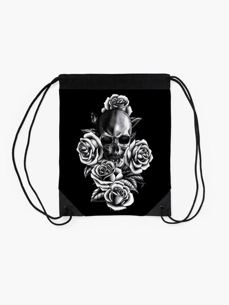 Alternate view of Skull and Roses Drawstring Bag