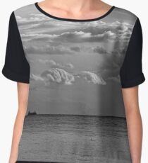 English Channel Seascape Women's Chiffon Top