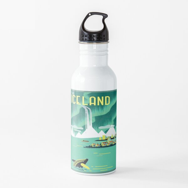 ICELAND : Vintage Travel and Tourism Advertising Print Water Bottle
