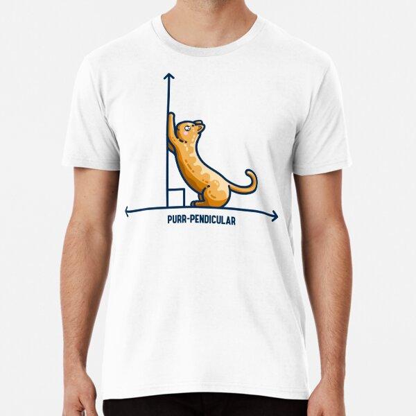 Purr-pendicular Kawaii Cute Cat Maths Pun Premium T-Shirt