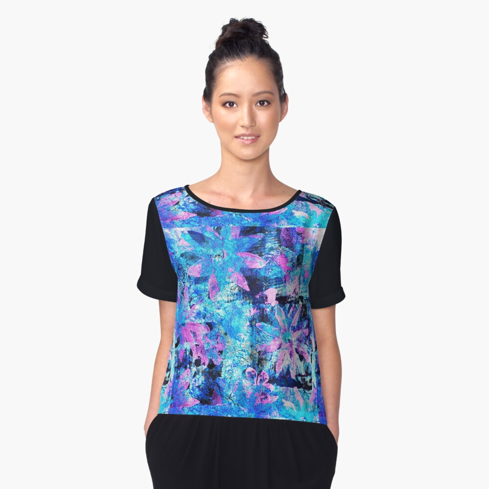 Flower in Black Square 11- Digitally Altered Print  Women's Chiffon Top Front
