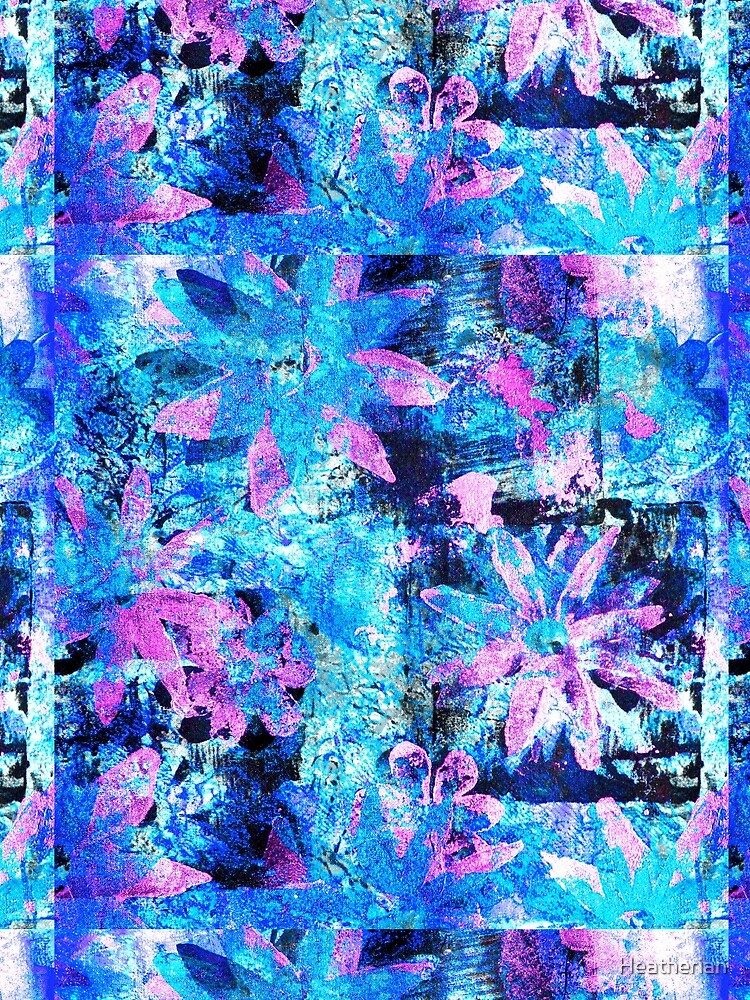 Flower in Black Square 11- Digitally Altered Print  by Heatherian