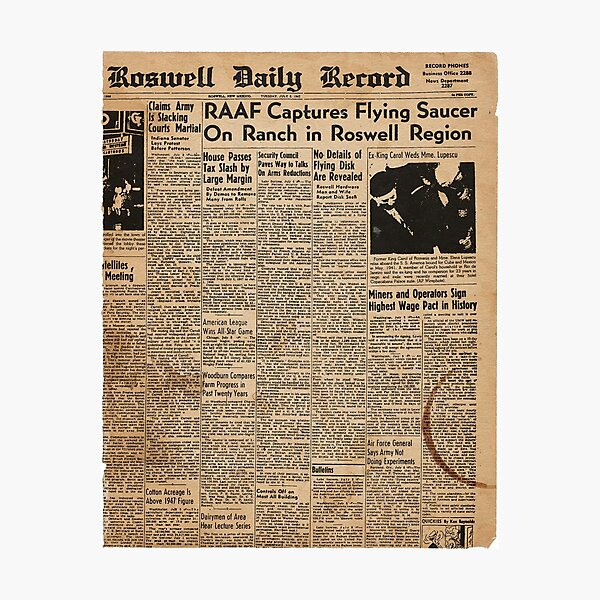 Roswell UFO Incident vintage newspaper Photographic Print