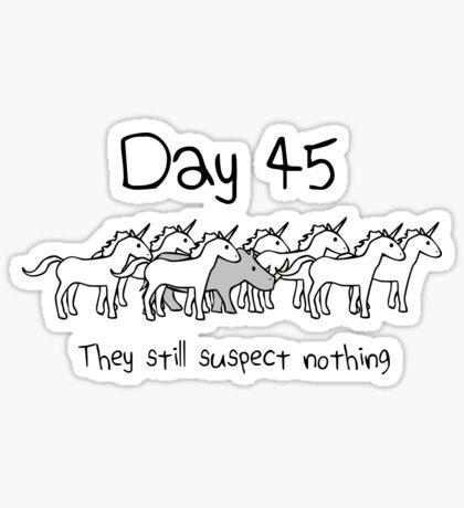 Day 45. They still suspect nothing. (Rhino + Unicorns) Sticker