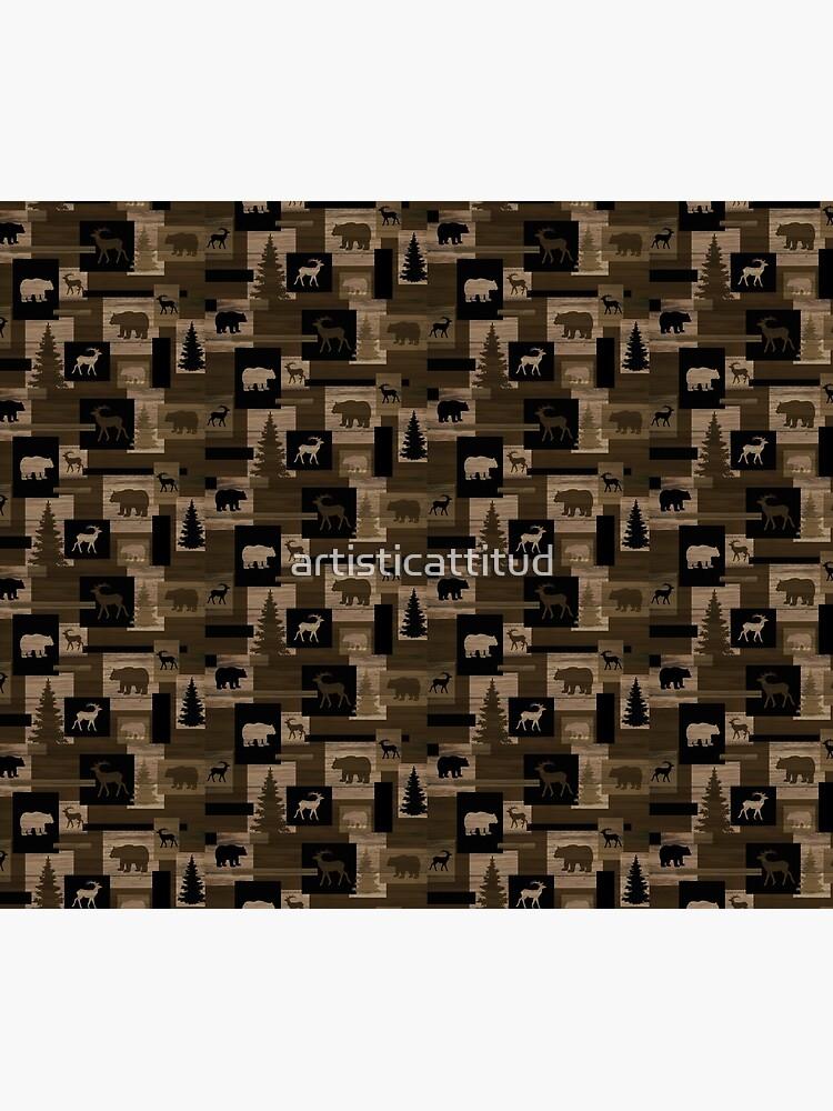 Rustic wood bear moose pattern by artisticattitud