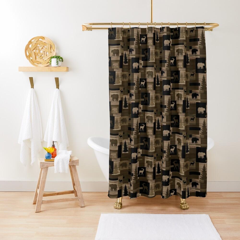 Rustic wood bear moose pattern Shower Curtain