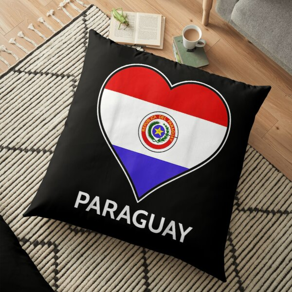 Paraguay Paraguayan Heart Shaped National Flag Tourist Floor Pillow