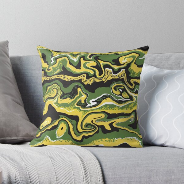 Jamaican Waves - Colours - Green Black Yellow Abstract Pattern Throw Pillow