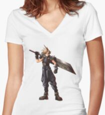 Final Fantasy VII - Cloud  Women's Fitted V-Neck T-Shirt