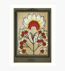Red Flowers Bride Art Print