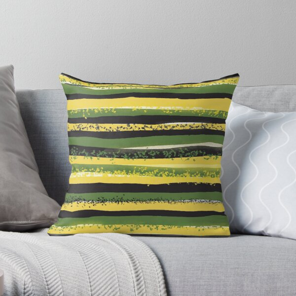 Jamaica Colours Green Yellow Black Linear Pattern Throw Pillow