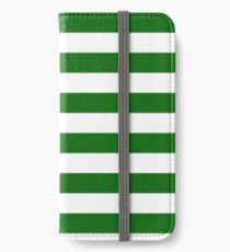Green and White Hoops Banded Design iPhone Wallet/Case/Skin