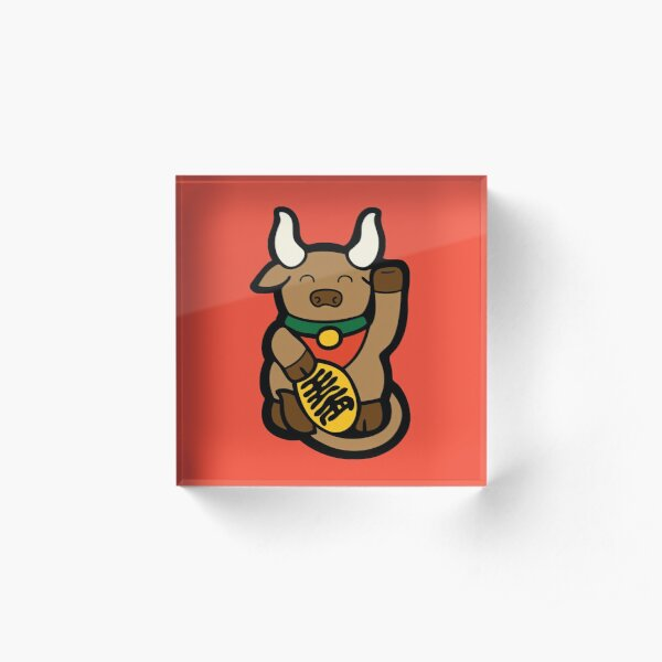 Lucky Chinese Year of the Ox Pattern Acrylic Block