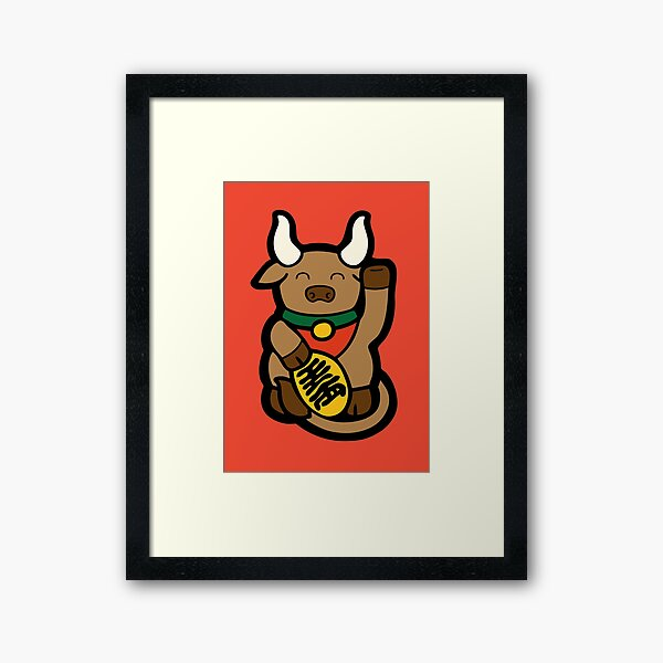 Lucky Chinese Year of the Ox Pattern Framed Art Print