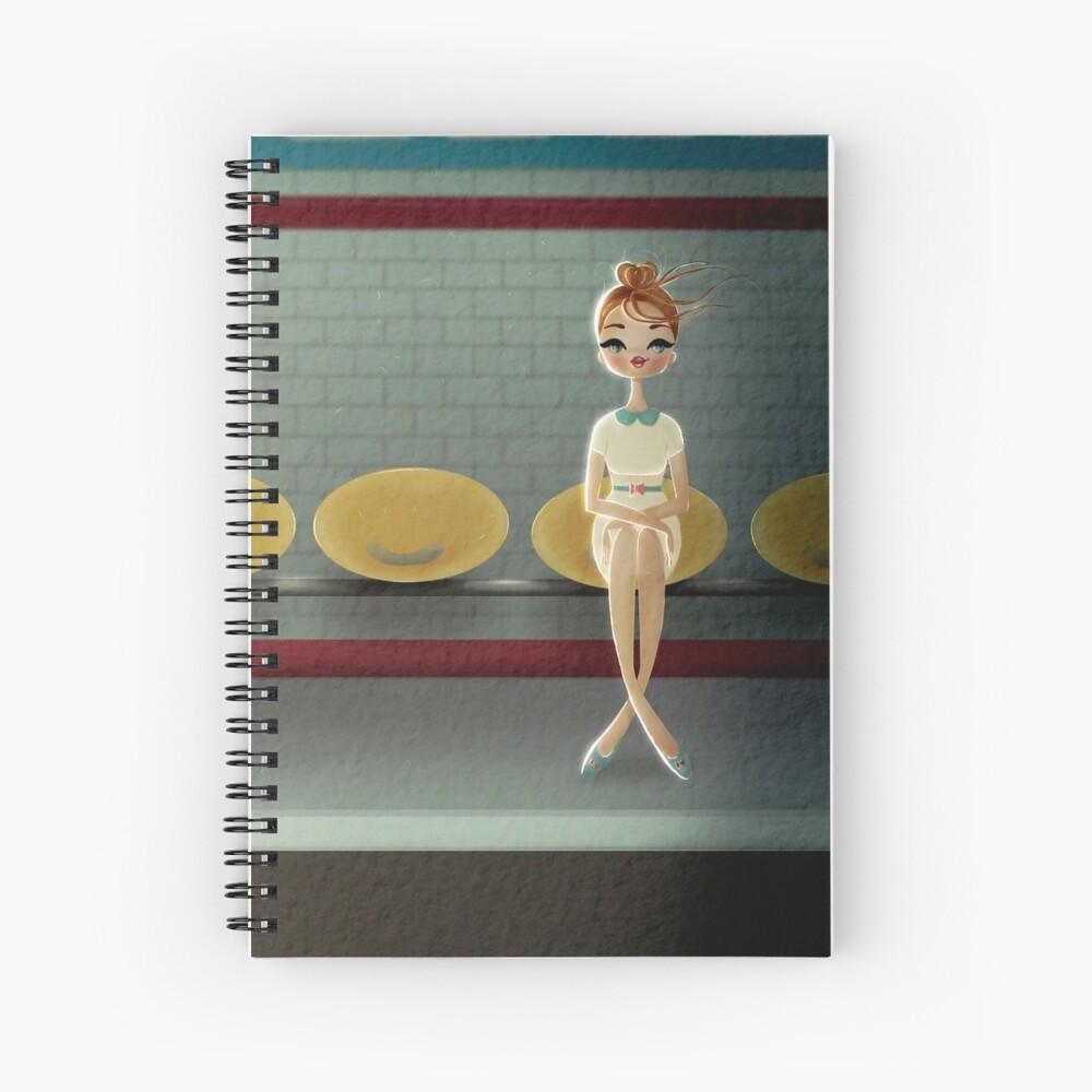 Parisian Woman Mid Century modern style. Retro Vintage Spiral Notebook