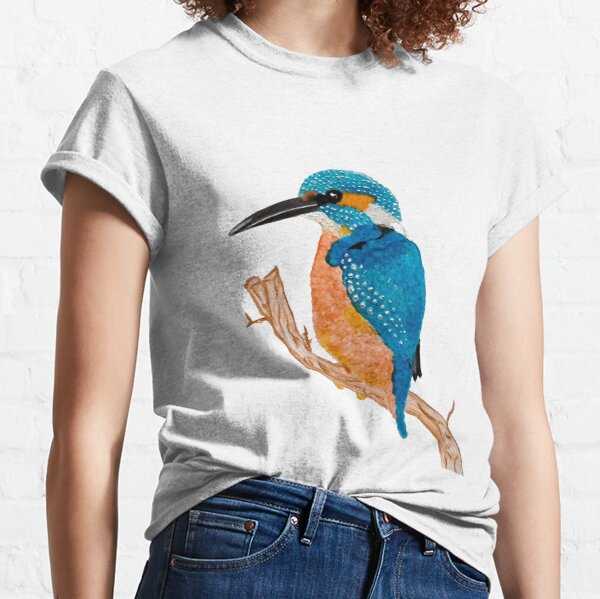 Colorful Kingfisher Bird on a Branch Classic T-Shirt
