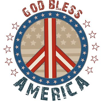 God Bless America Stars And Stripes Peace Sign by doonidesigns