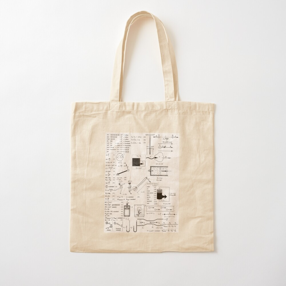 General Physics Formula Set, ssrco,tote,cotton,canvas_creme,flatlay,square,1000x1000-bg,f8f8f8