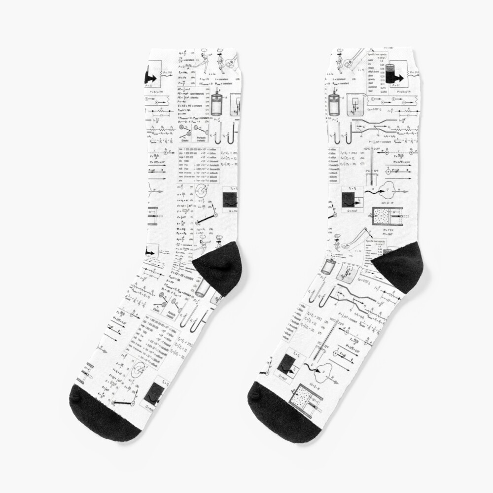 General Physics Formula Set, ur,socks_flatlay_medium,square,1000x1000-bg,f8f8f8