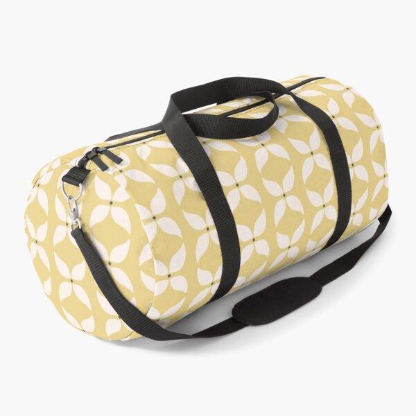 Cottagecore Yellow and White Geometric Flower Pattern Duffle Bag