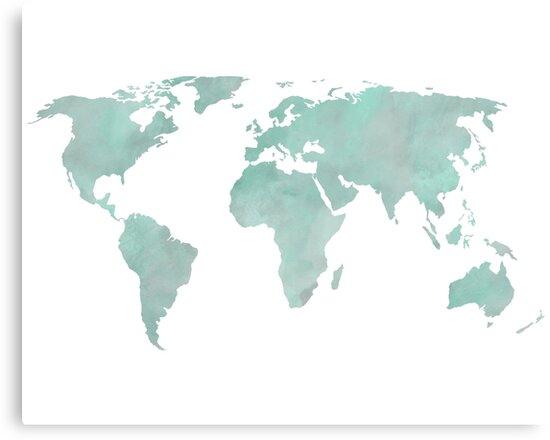 Mint green watercolor world map canvas prints by leah biernacki mint green watercolor world map by leah biernacki gumiabroncs Gallery