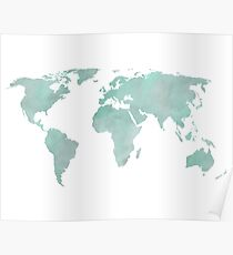 Mint Green Watercolor World map Poster