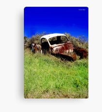 Old car resting in farmers paddock. Canvas Print