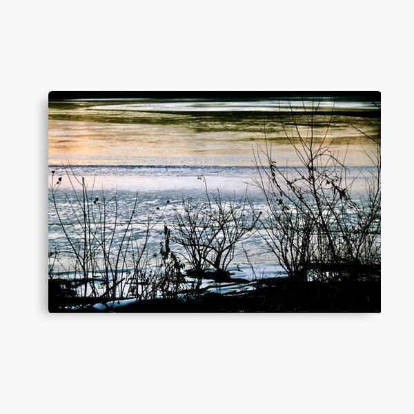 Winter Lake Sunset Canvas Print