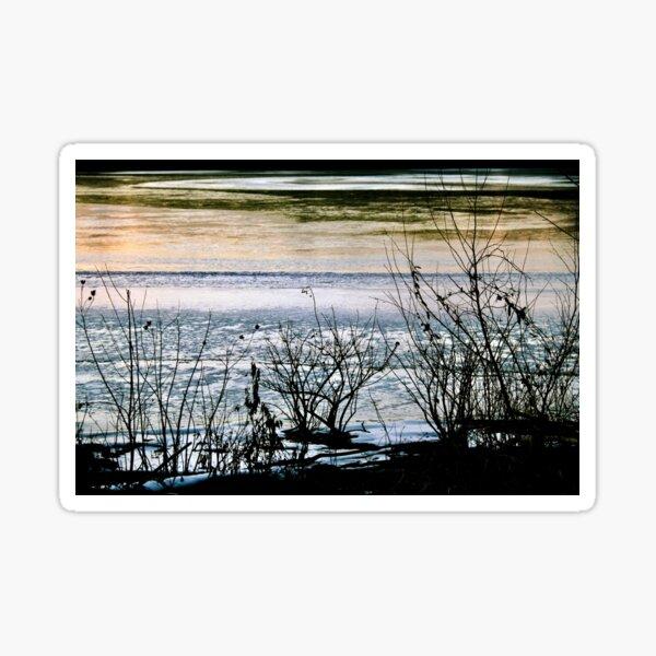 Winter Lake Sunset Sticker