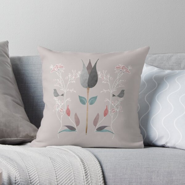 Single Tulip.  William Morris Inspired Victorian, elegant regal mushroom grey and blush pink floral pattern  Throw Pillow