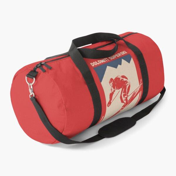 Vintage Red Geometric Ski Poster for Mountain Alpine Skier with the name of the Italian ski resort Dolomiti Superski Duffle Bag