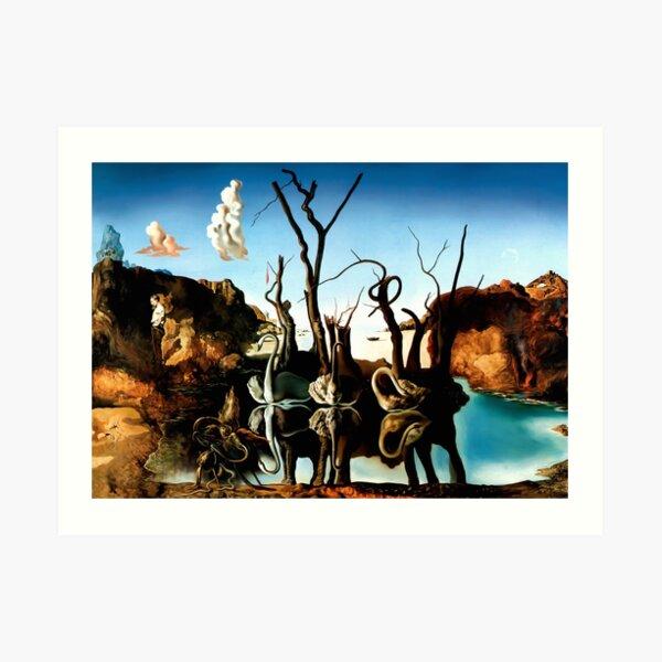 Salvador Dali Swans Reflecting Elephants 1937 Artwork for Wall Art, Prints, Posters, Tshirts, Men, Women, Kids Art Print