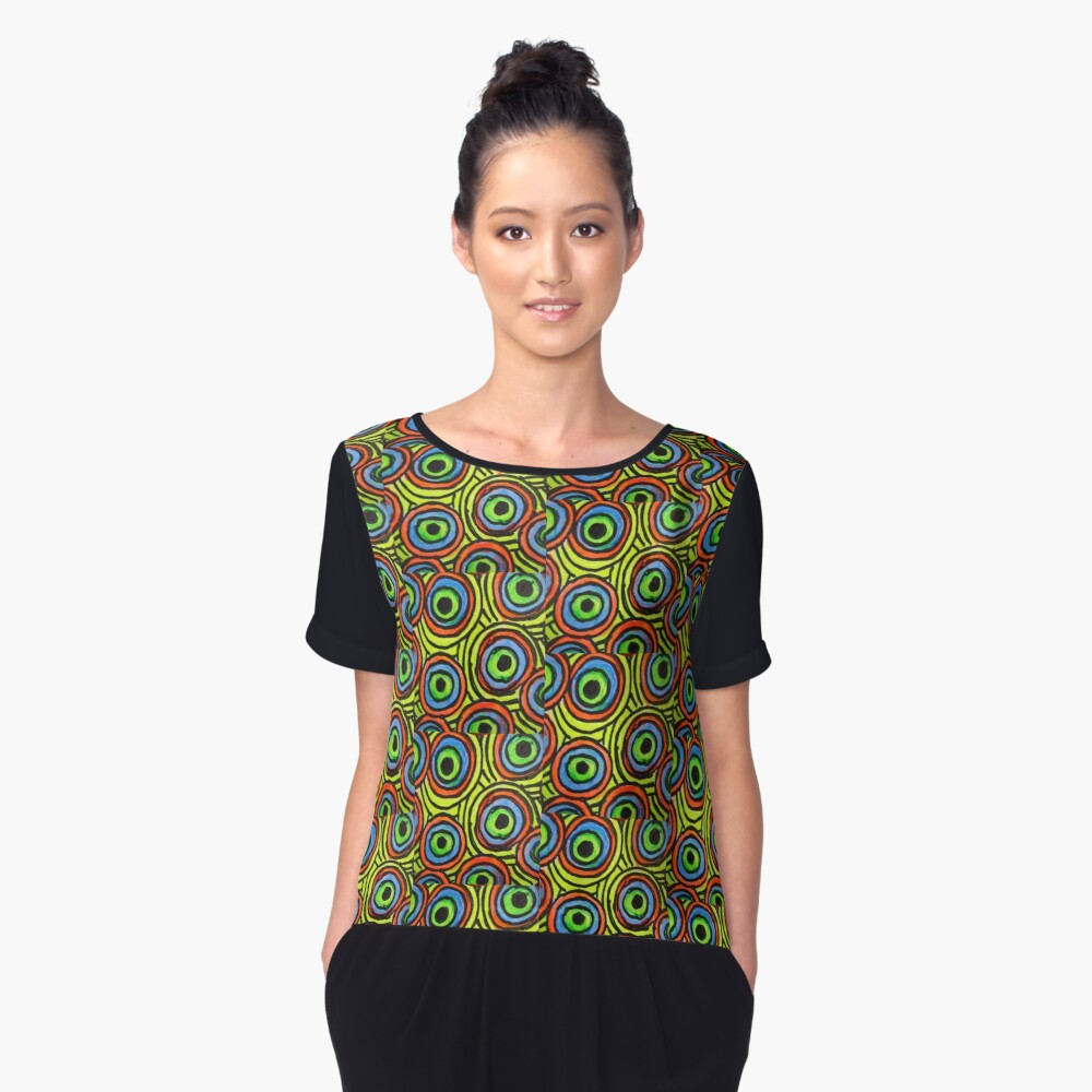 Abstract Fluoro 6  Women's Chiffon Top Front