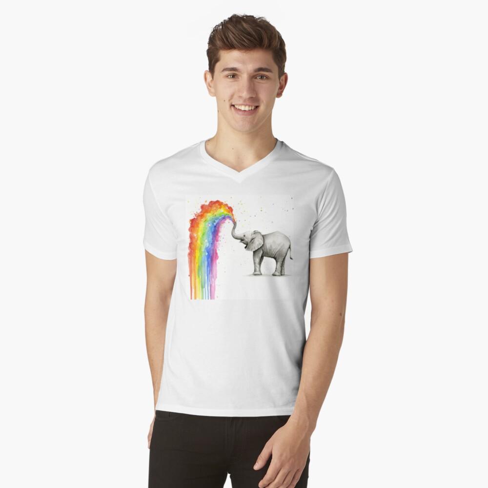 Baby-Elefant-Sprühregenbogen T-Shirt mit V-Ausschnitt