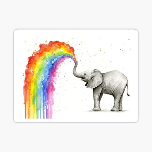 Baby Elephant Spraying Rainbow Sticker