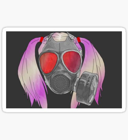 gas mask and pig tails  Sticker