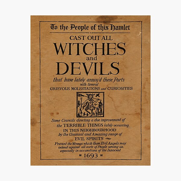 Cast out all Witches and Devils medieval book page Photographic Print