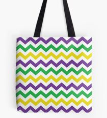 Mardi Gras Chevron Pattern Tote Bag