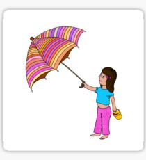 Girl with umbrella Sticker
