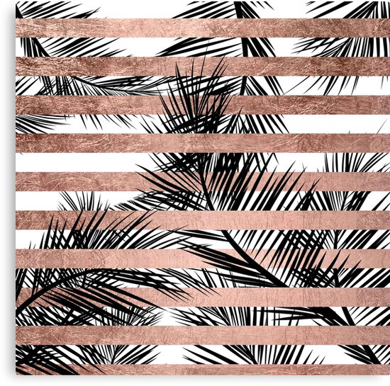 Quot Trendy Tropical Palm Trees Chic Rose Gold Stripes Quot Canvas