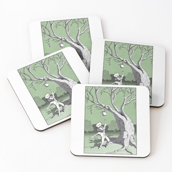 Guy reaching for apple but missing the keys Coasters (Set of 4)