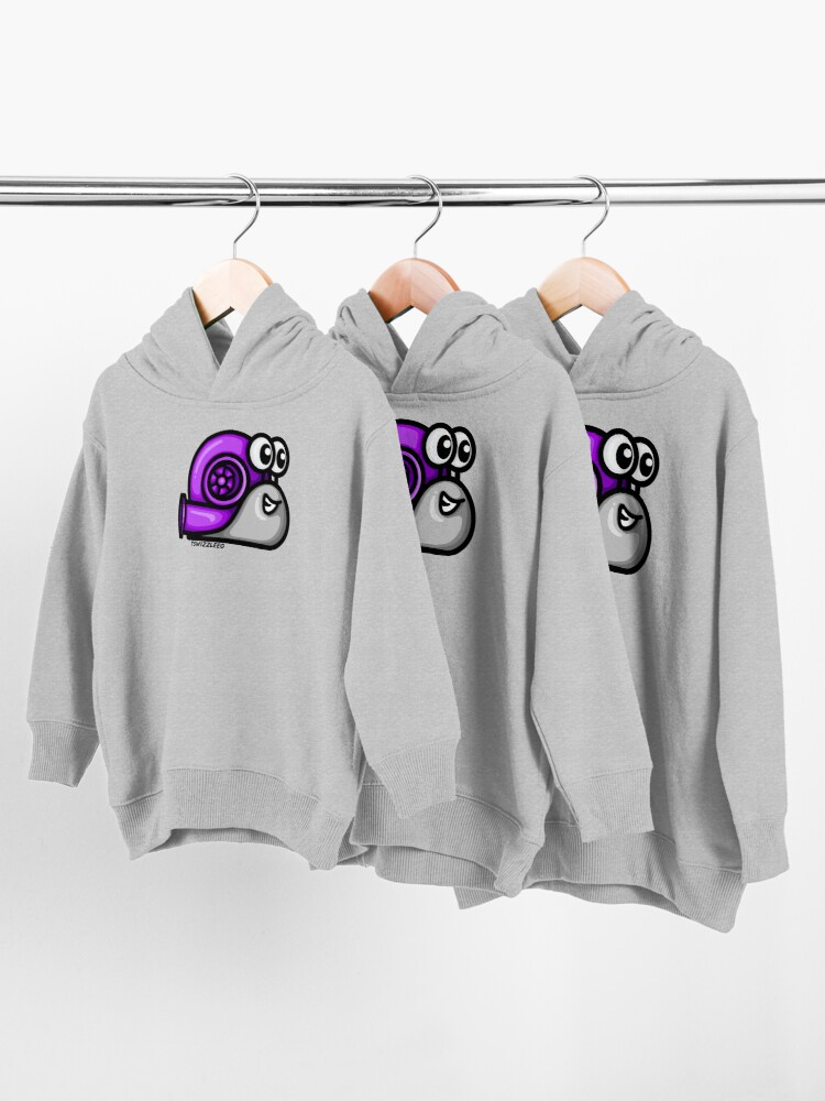 Alternate view of Turbo Snail (Version 1) - Purple/ Gray Toddler Pullover Hoodie