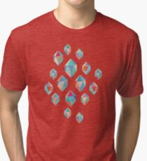 Floating Gems - a pattern of painted polygonal shapes Tri-blend T-Shirt