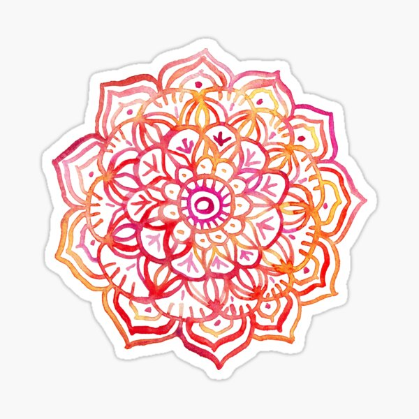 Watercolor Medallion in Sunset Colors Sticker