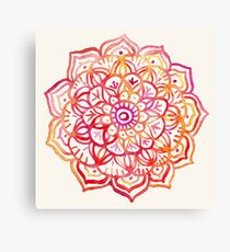 Watercolor Medallion in Sunset Colors Canvas Print