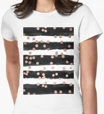 Girly rose gold confetti black watercolor stripes Women's Fitted T-Shirt