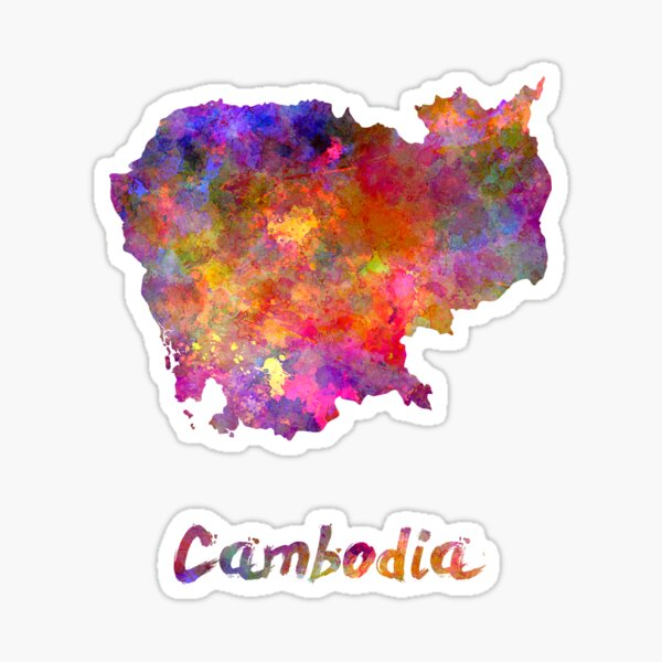 Cambodia in watercolor Sticker