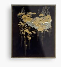 Design of Flowers and Praying Mantis, Meiji period Metal Print